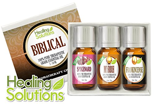 Biblical Set 100% Pure Therapeutic Grade Aromatherapy Essential Oil Gift: Myrrh Frankincense Spikenard