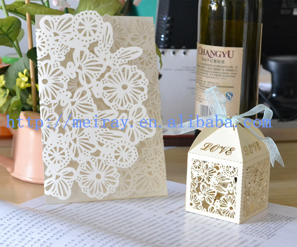 Laser cut unique wedding cake boxes for wedding invitation for Wedding invitations cake boxes sri lanka