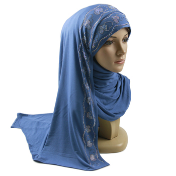 High-quality jersey scarf stretchy hijab plain headscarves wholesale women stoles hijab rhinestone jersey hijab Islamic wraps