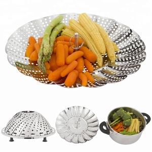 2018 Hot sales Vegetable Steaming Basket Stainless Steel Multifunctional Collapsible Food Steamer