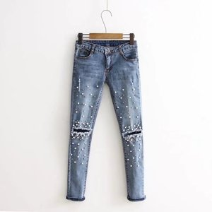 Customized Knitted Denim Washed Women Pearl Embroidery Pants