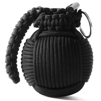 Black Paracord Grenade Survival Kit - LED Flashlight,Fishing Line, Sutures, Fire Starter Toggle, Mini Pocket Knife