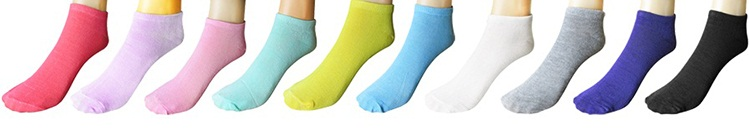 10 Pairs High Quality Cute Colorful Women Short Socks
