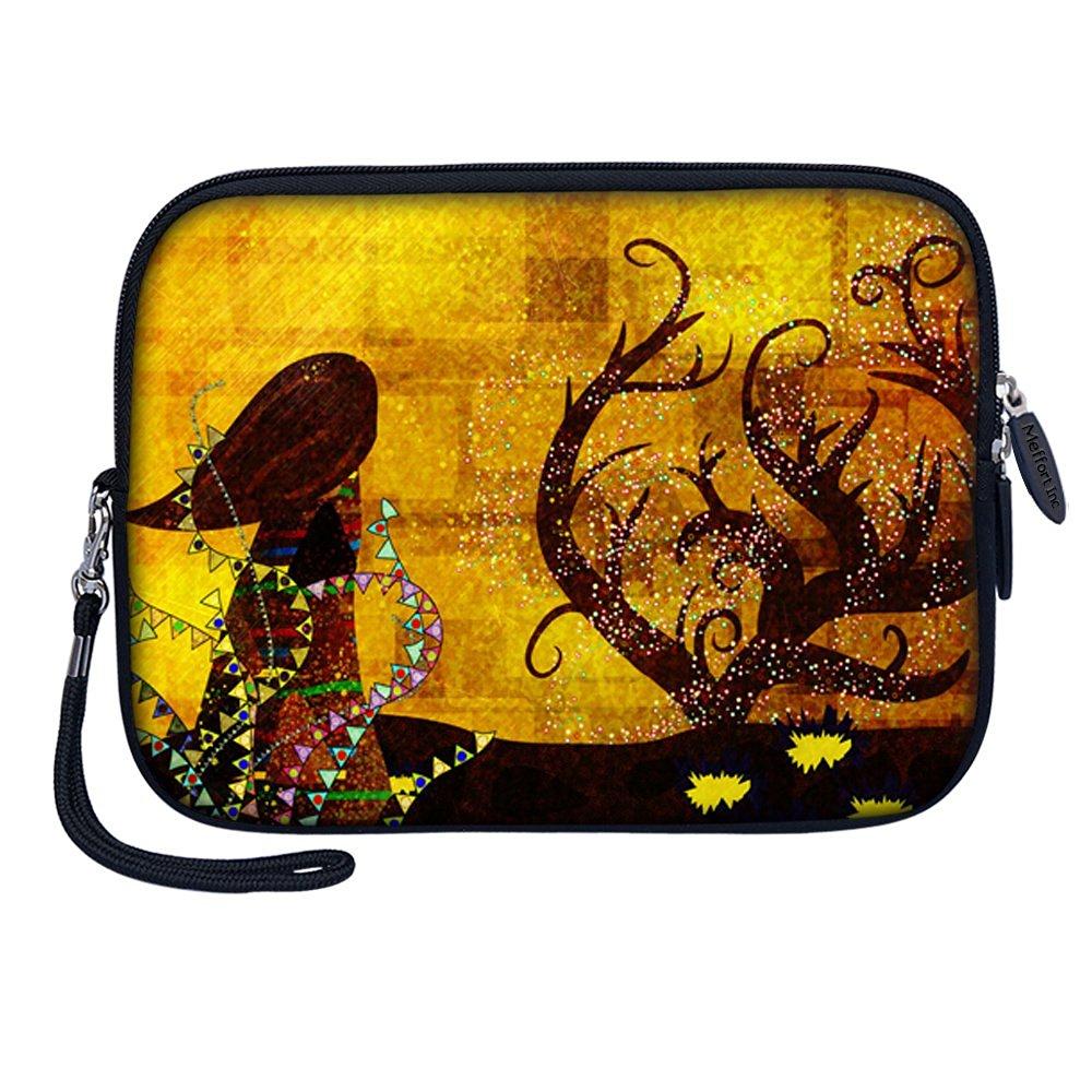 """Meffort Inc 7 inch Tablet Carrying Case Sleeve Bag w Removable Handle for most 6"""" 7"""" 8"""" Tablet eBook - Gustav Klimt"""
