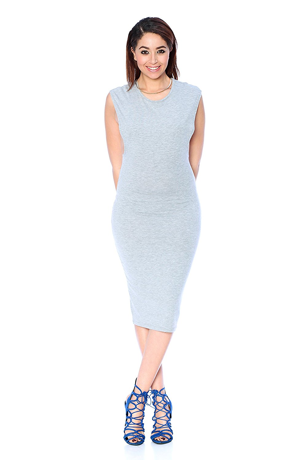 32e88ccfaf Get Quotations · Khanomak Sleeveless Fitted Low Armhole Dress