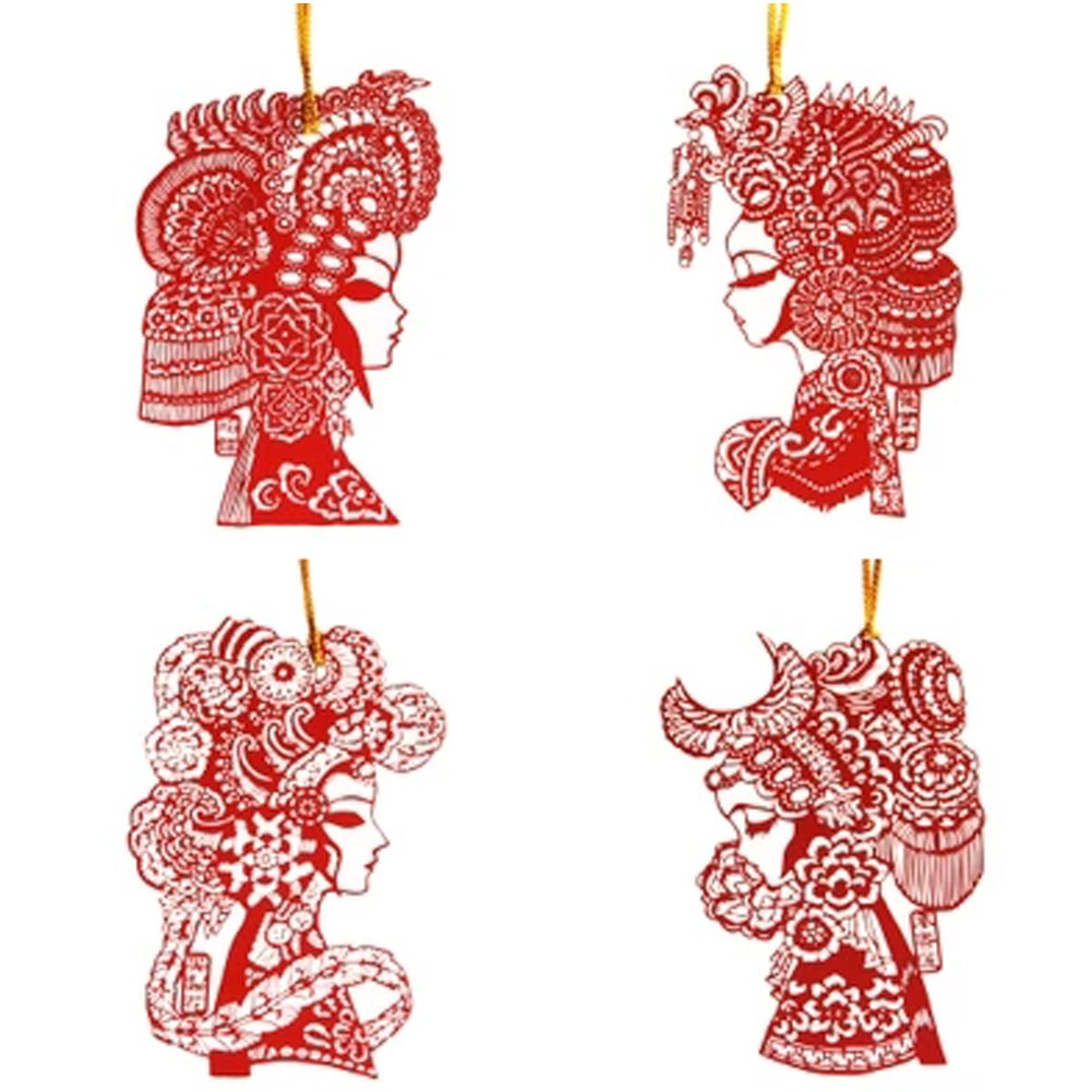 Trycooling 4 In 1 Creative Chinese Style Stainless Steel Bookmarks Template Ruler Stencils Peking Opera Classic Beauty Paper-cuts for Window Decorations