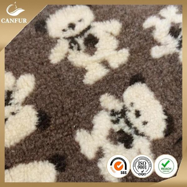 9mm camouflage plushed short pile printed sherpa faux fur fabric