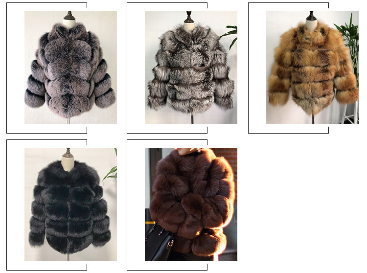 Coffee Italian Short Fox Fur Coats