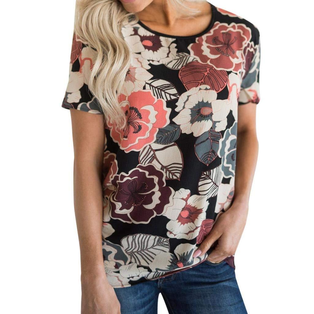 BCDshop Summer Shirts Women's Casual Floral Print Short Sleeved T-Shirt Tops Blouse
