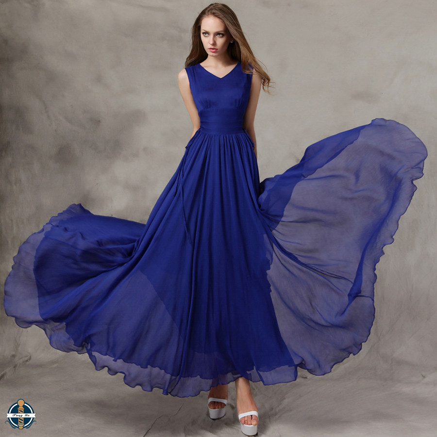 T-D563 Bulk Wholesale Plain Chiffon Women Maxi Long Flare Summer Dresses