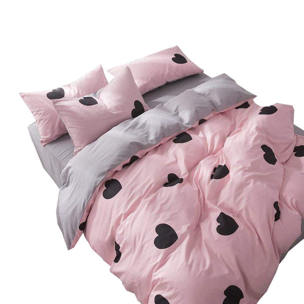 f63278a0a3 Get Quotations · EnjoyBridal Children Girls Bedding Sets Queen Full Cotton  Black Hearts Print Duvet Cover Sets Teens Pink