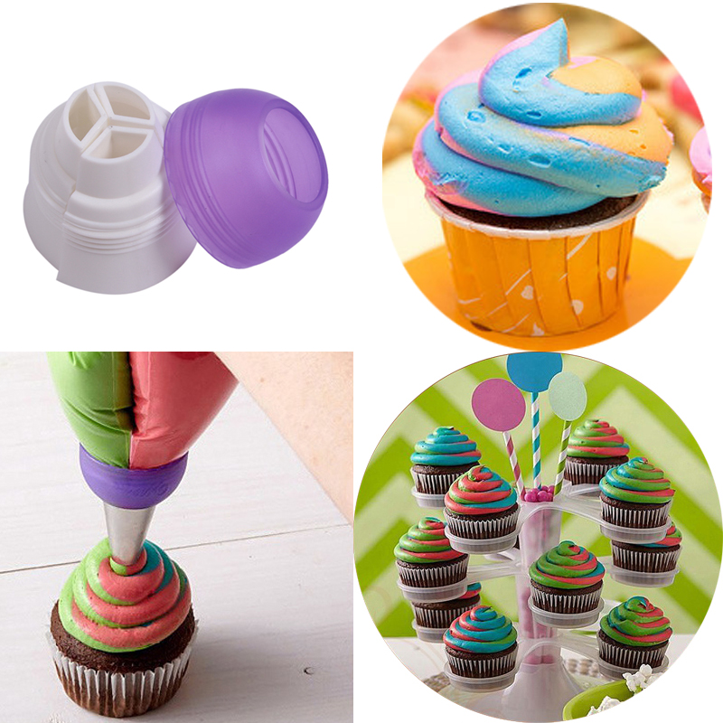 Delidge 1 set Cake Decoration Set 1 pc 3 Holes Cake Decoration Converter +1 pc Torch Nozzle Mix 3 Colors Icing Piping Cupcake