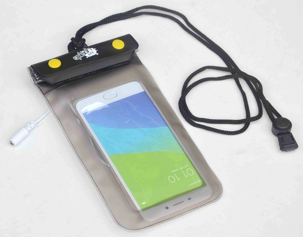 Plastic PVC Waterproof Mobile Phone Pouch With Earphone Jack Dry Bags