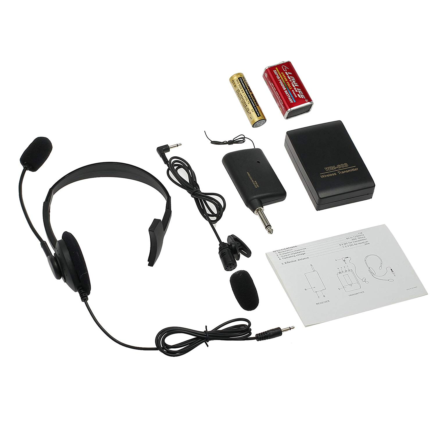 AUTOUTLET Professional Hands Free Wireless Microphone System Receiver & FM Transmitter & 3.5MM Headworn Microphone (Headset) & 6.5MM Clip-on Lapel Microphone for Teaching, Meetings, Presentations