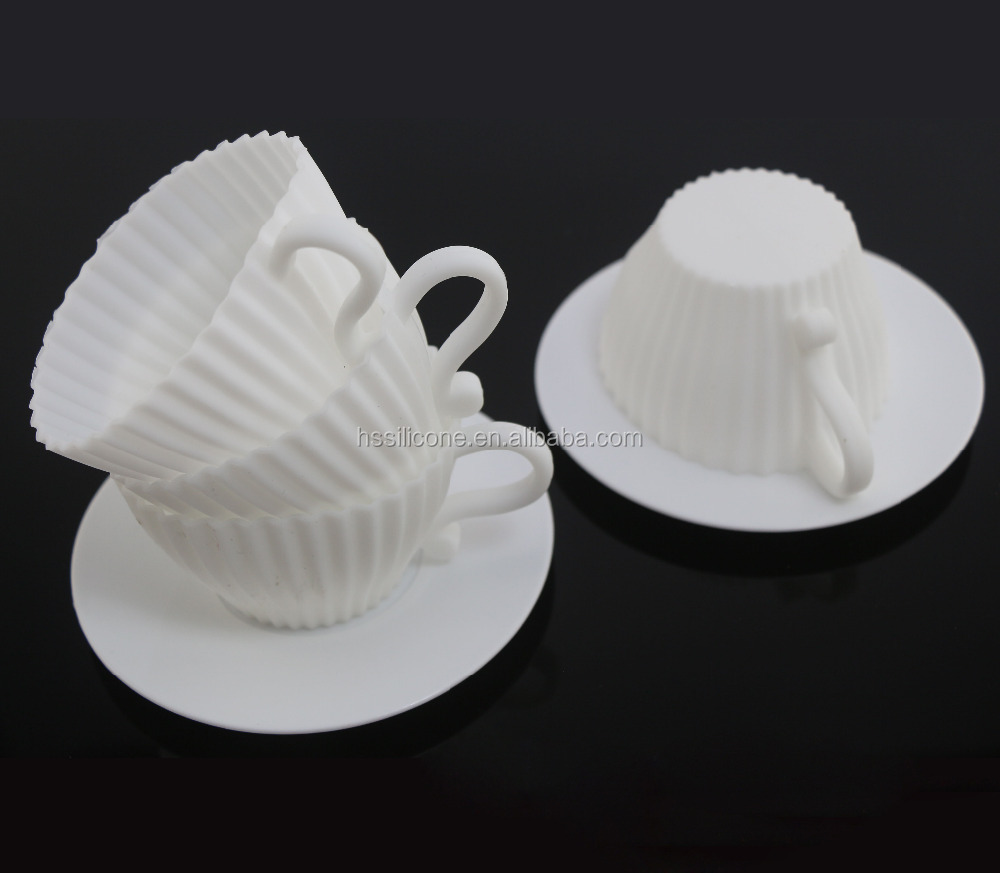 Reusable and oven safe silicone tea cup cake moulds