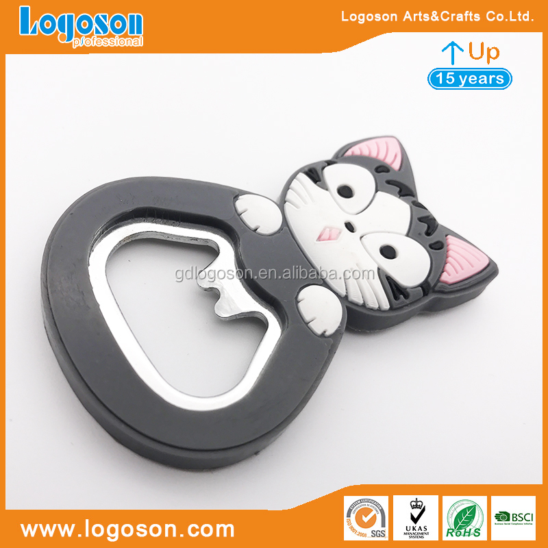 Free Design Souvenir Openers PVC / Rubber Bottle Opener Magnet Animals Shape Beer Can Openers