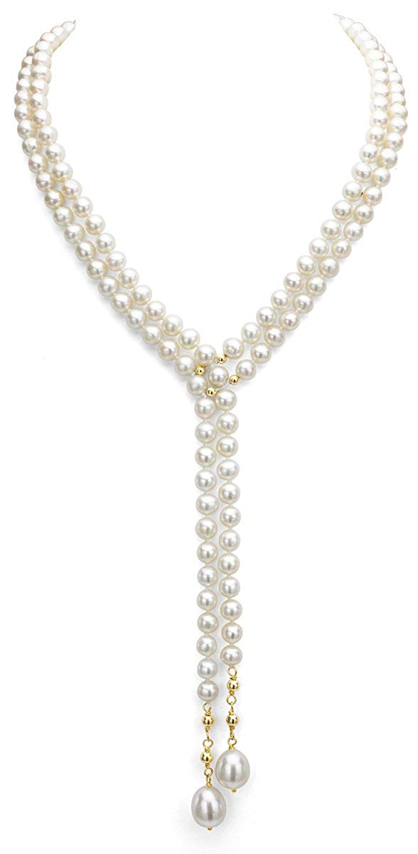 62394d1f8fd Get Quotations · 14K Yellow Gold Freshwater Cultured White Pearl Choker Necklace  Jewelry for Women 16