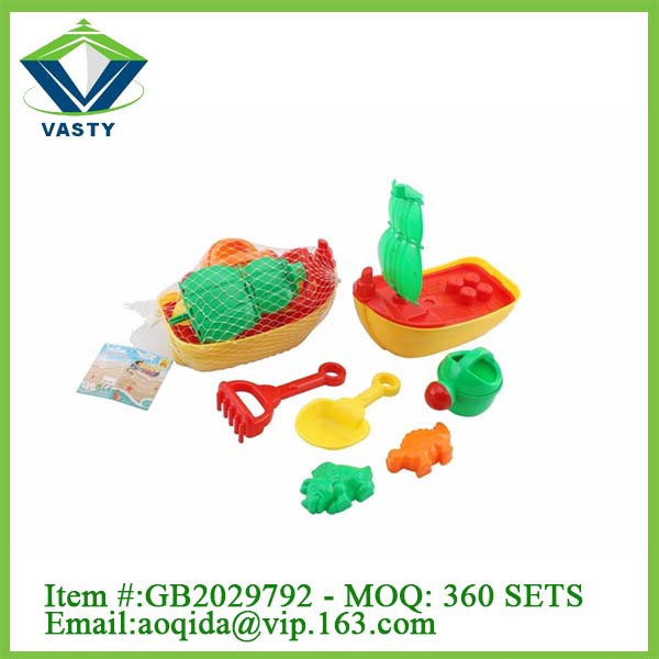 Small plastic kids boat set beach toys for children