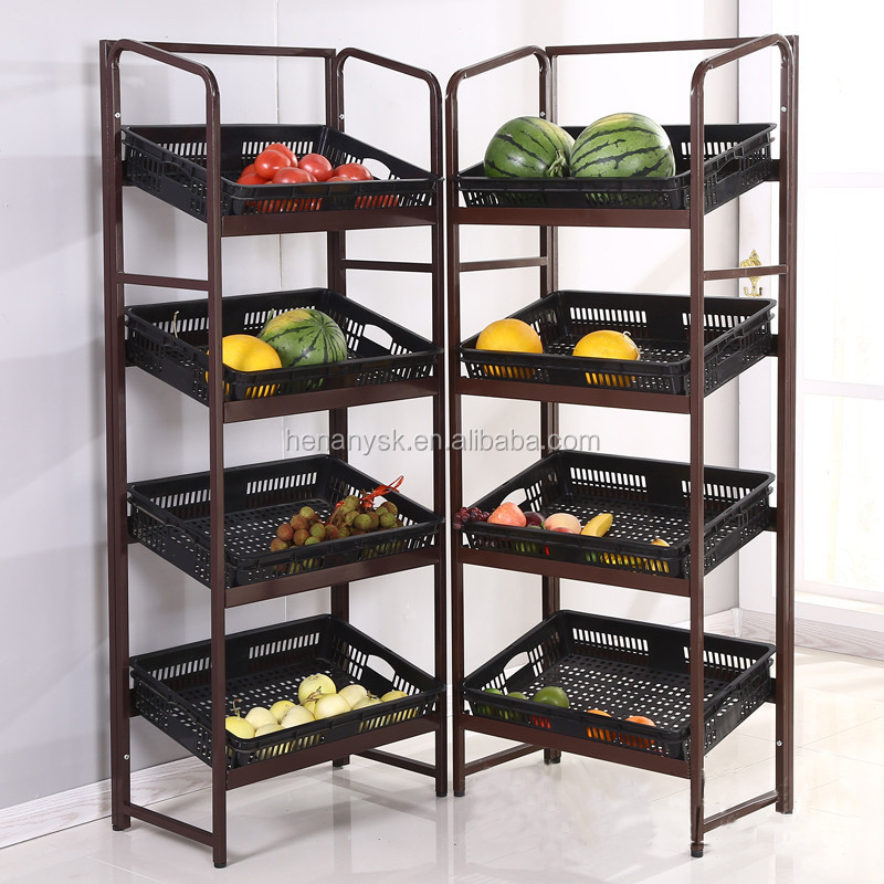 All Steel Structure Multi-Function Supermarket Fruit And Vegetable Display Stand