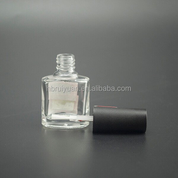 Empty nail bottle glass gel nail polish oil bottle with black cap
