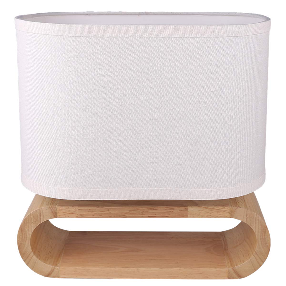 7Pandas Modern Bedside Table Lamp, Wood Nightstand Lamp, White Linen Shade and Online Switch, 1 x E26 / E27 Medium Base for End Table, Bedroom, Living Room, Dinning Room, Hotel - Natural Color