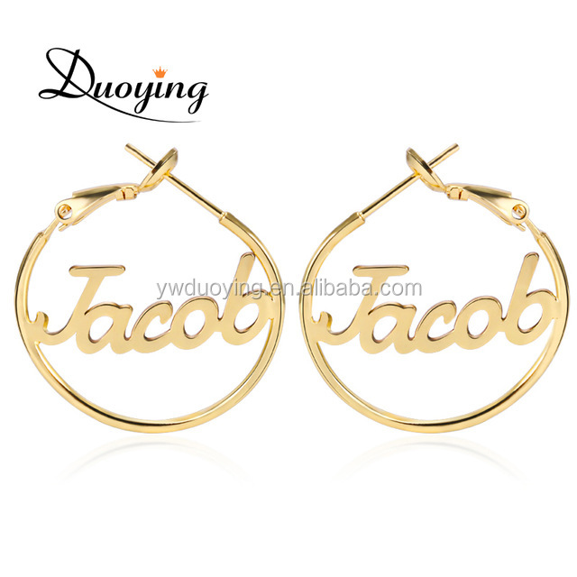 25 mm Custom Name Hoop Earrings Metal Copper Circle Earrings copper alloy jewelry for Women Personalized Unique Jewelry Earrings