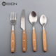 Natural wood wooden rivet handle stainless steel cutlery flatware set with matte finish