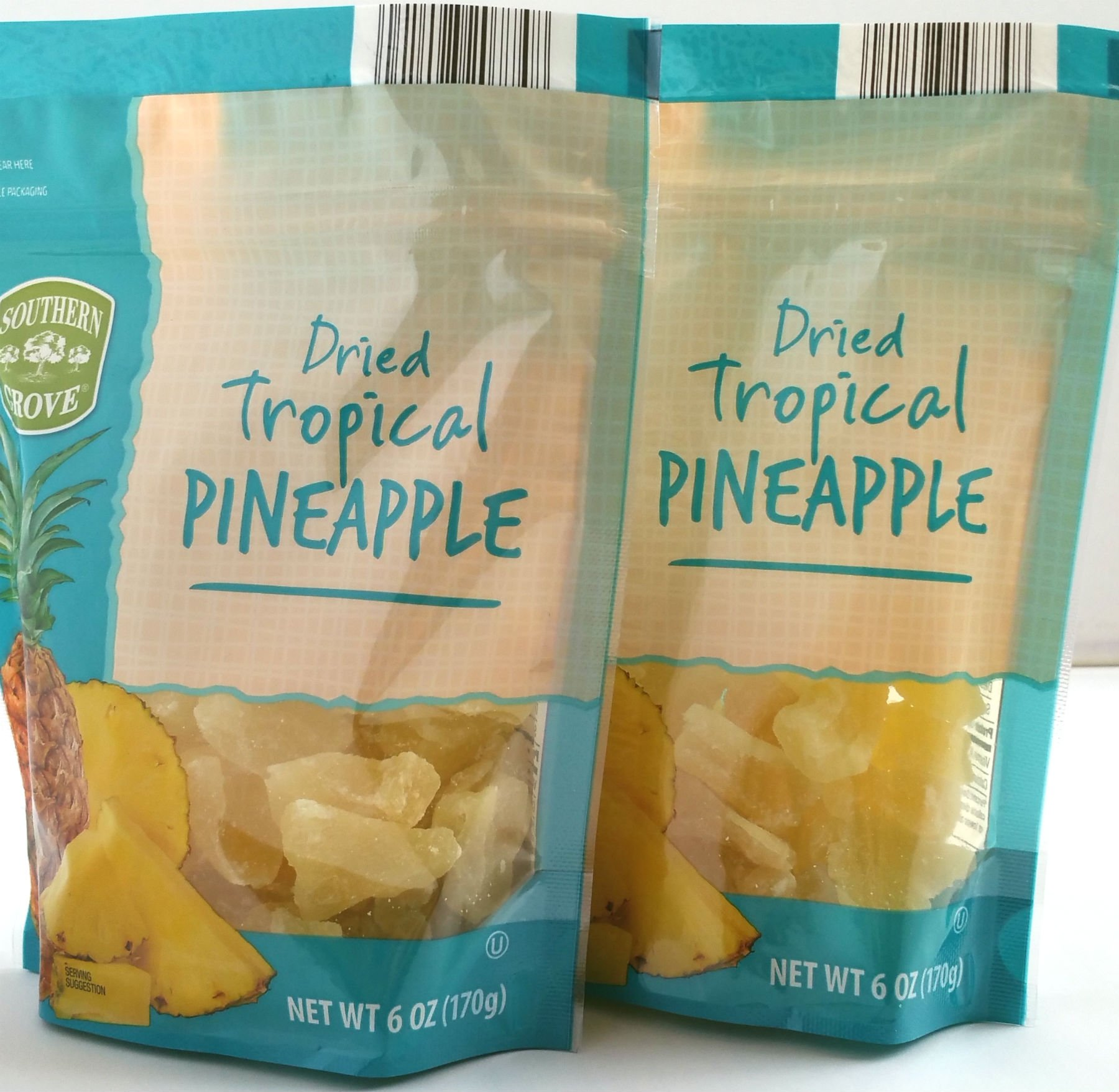 Southern Grove - Dried Tropical Pinapple - Net Wt. 6 Oz. (170g) - Two (2) Pack