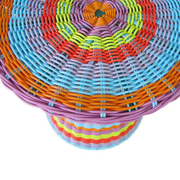 Bright Multi Colored Pe Round Rattan Drum Shape Bar Stool