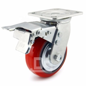 Heavy Duty 500KG 1000KG Load Capacity Swivel PU Caster Wheels with Total Locking Brake