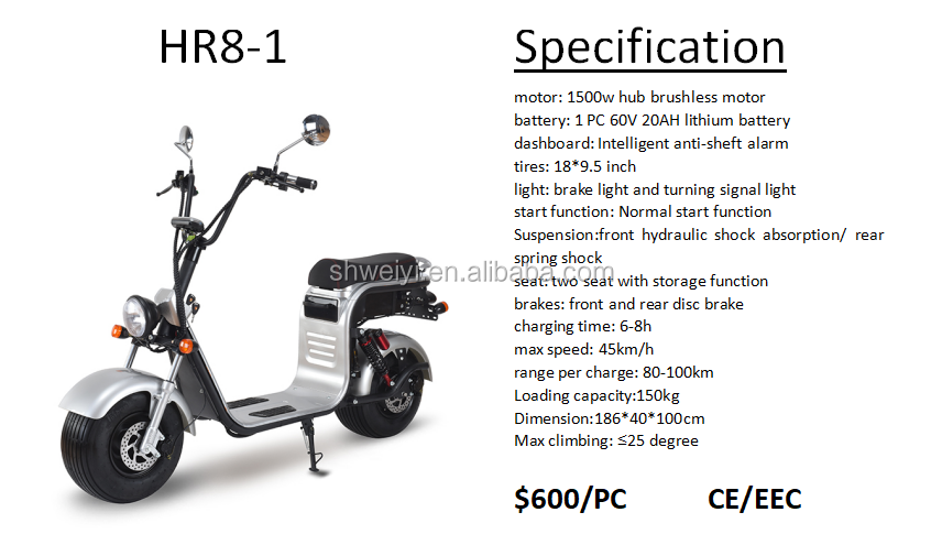 Modern riding 2000w electric citycoco scooter Long range speed 80km dual battery motorcycle