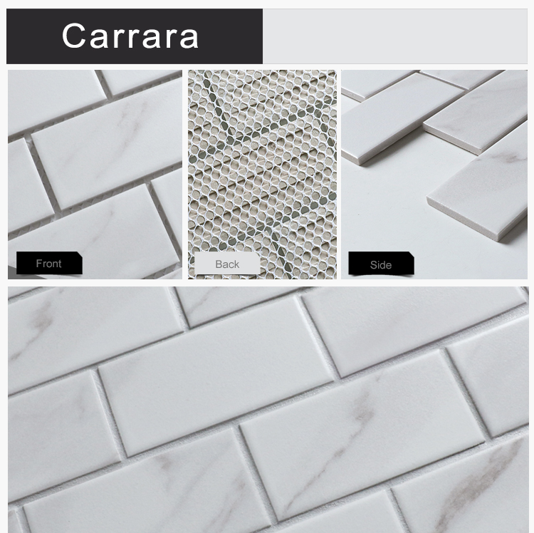 Brickbond 2''x4'' texture white decorative digital ink jet mosaic italian marble subway bianco carrara porcelain tile