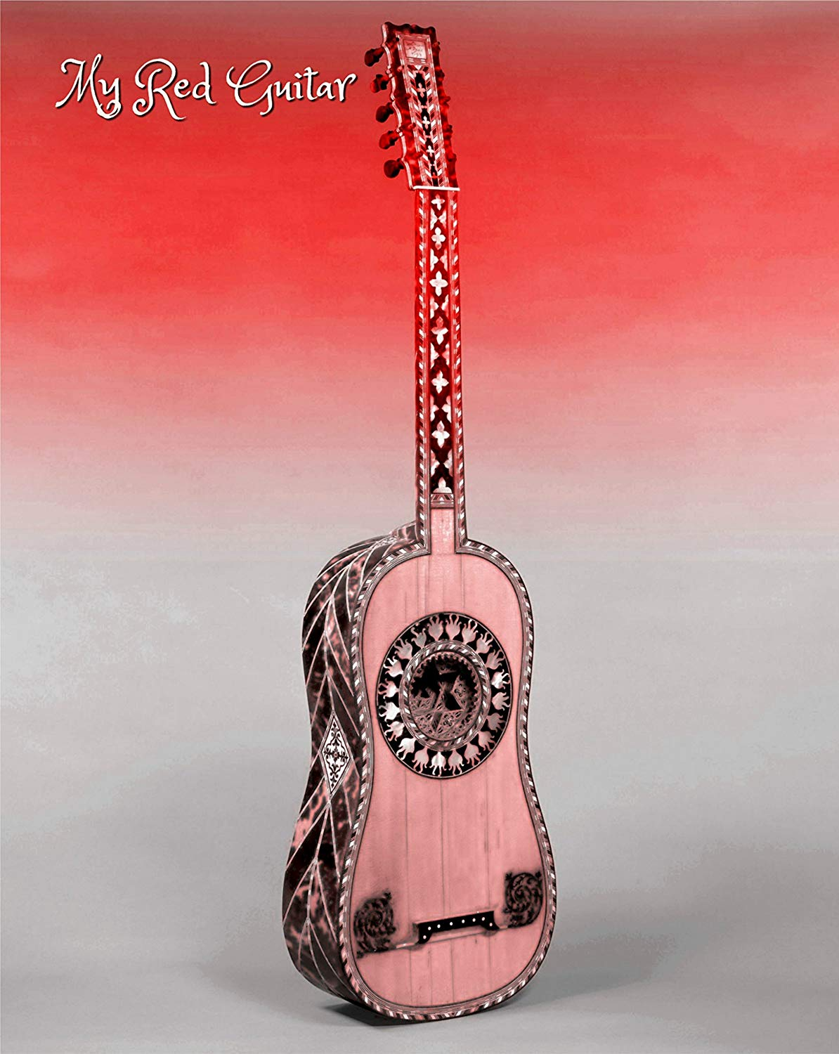 My Red Guitar, Classical Guitar, Acoustic, Red, White, Museum Quality Poster Print