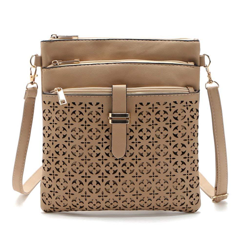 DukeTea Multi Pockets Medium Crossbody Purse, Faux Leather Crossover Shoulder Bag for Women