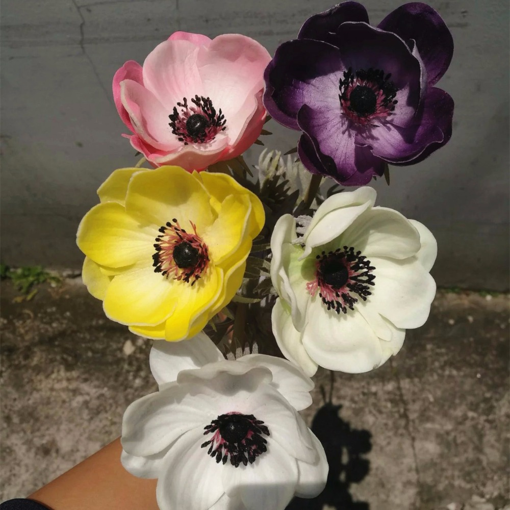 Decoration Flowers H34cm PU Anemone Artificial flower outdoor artificial flower wholesaler