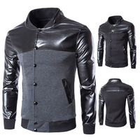 Wholesale Blank Korean Running Man Patchwork Leather Baseball Jacket