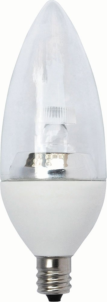 HC Lighting - 12V Low Voltage Input Clear Torpedo Tip Decorative Style LED Light Bulb 3W Candelabra E12 Screw Base LED Retro Fit Light Bulb (3 Watt) (1/PK)
