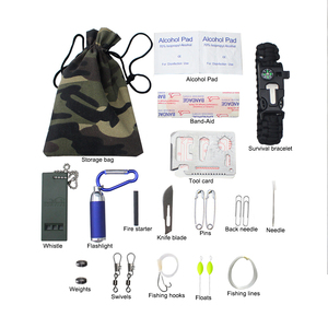With braiding rope bracelet survival camo kit bag with fishing set tools for outdoor leisure