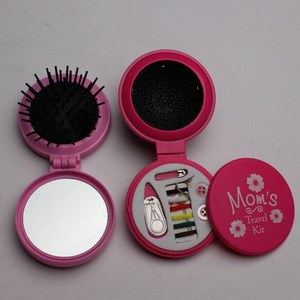 Folding Travel Mirror with Brush and Sewing Kit