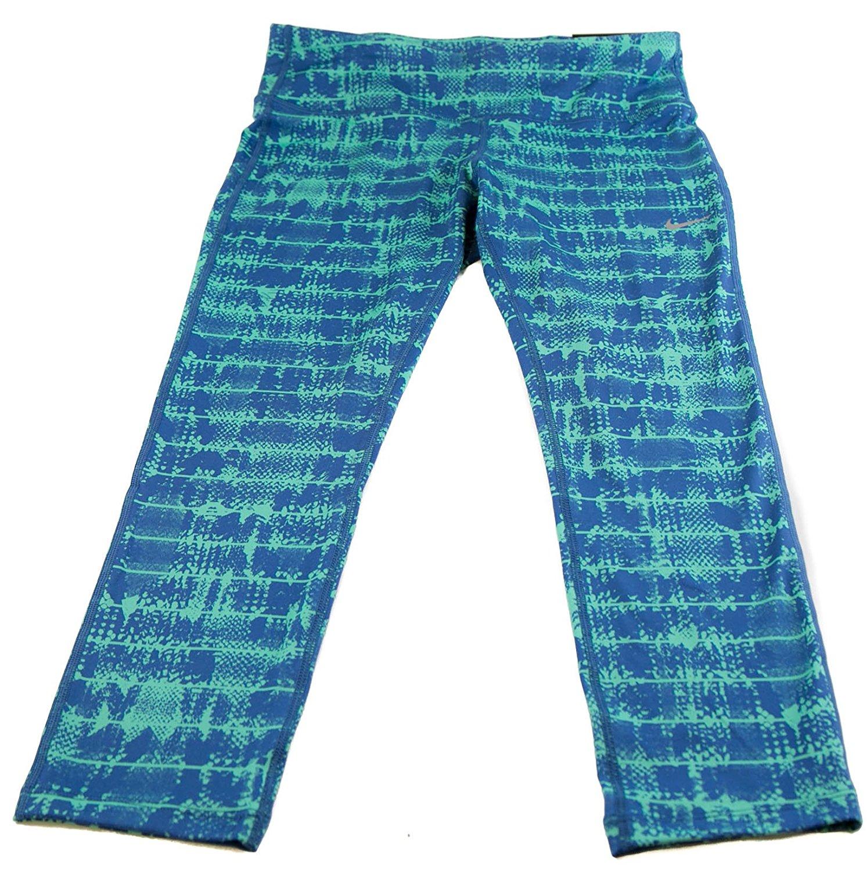 ac33a1f8808 NIKE Womens Epic Run Tight Fit Capris Green Blue