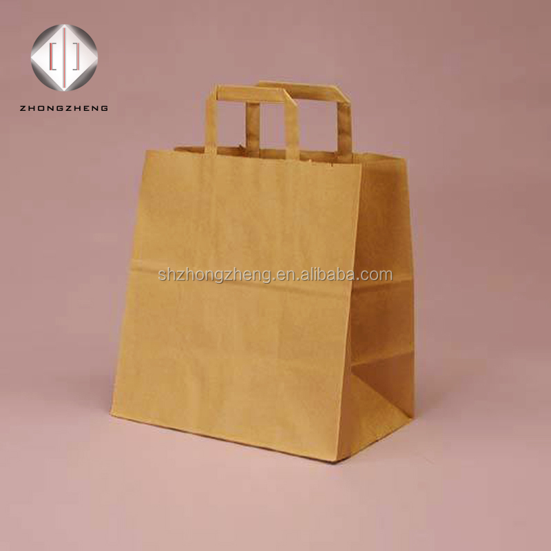 Promotional FSC certificated paper carry bag with flat handles/free sample paper bag