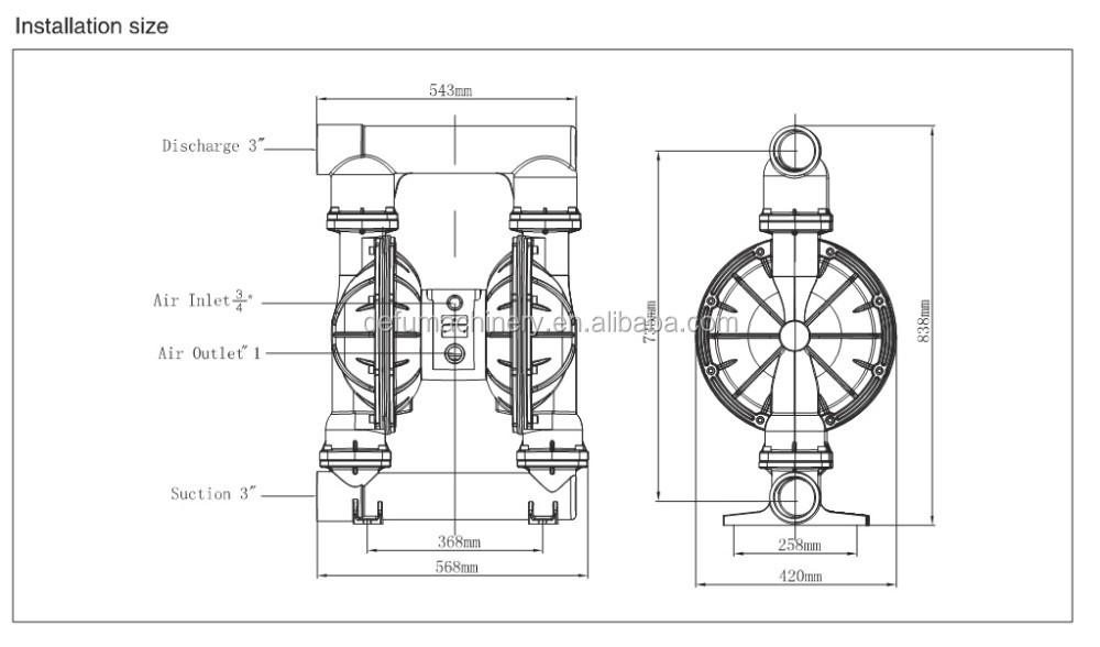ink circulation pneumatic diaphragm pump