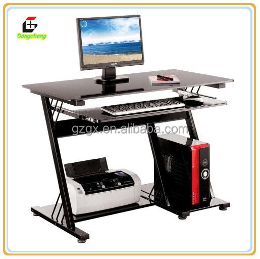 Verre table d 39 ordinateur avec metal frame table pliante id de produit 602 - Table ordinateur verre ...
