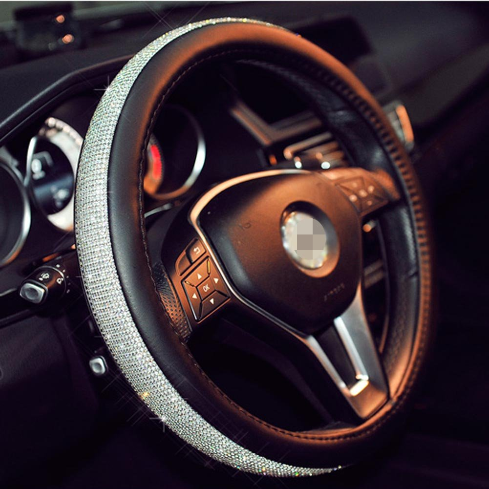 Cystal Car Steering Wheel Cover 38CM/15'' Universal PU Leather Bling Rhinestones Steering Wheel Covers (BLACK)