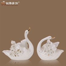 Sculpture Product Type and European Arts European Style Porcelain Swan Statue Crafts feng shui products