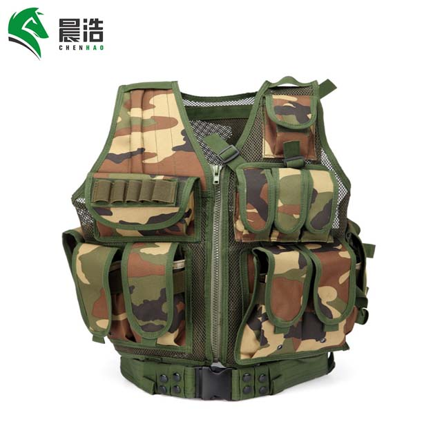 outdoor durable breathable molle hunting shooting military police tactical vest with pistol holster