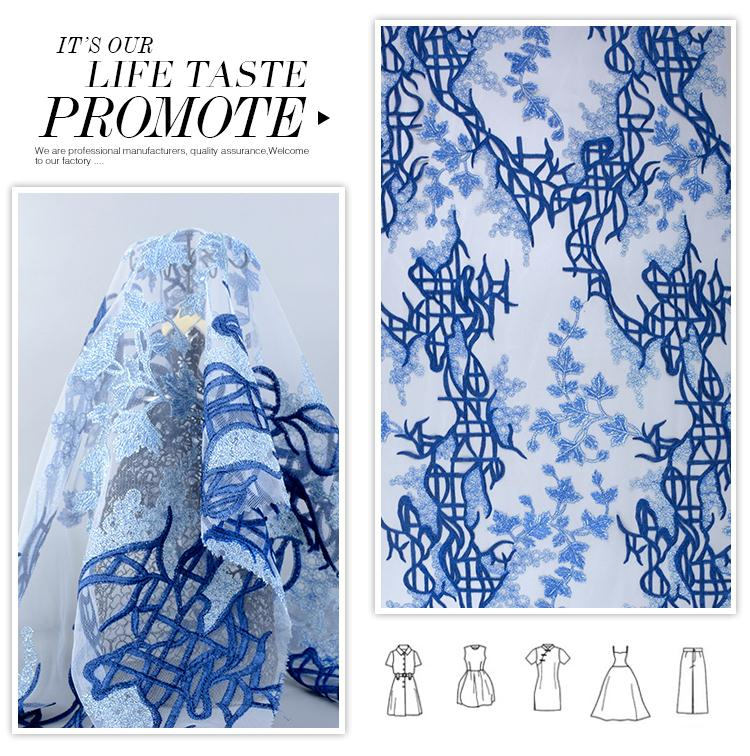Newest different design soft 100 polyester nice blue french lace fabric