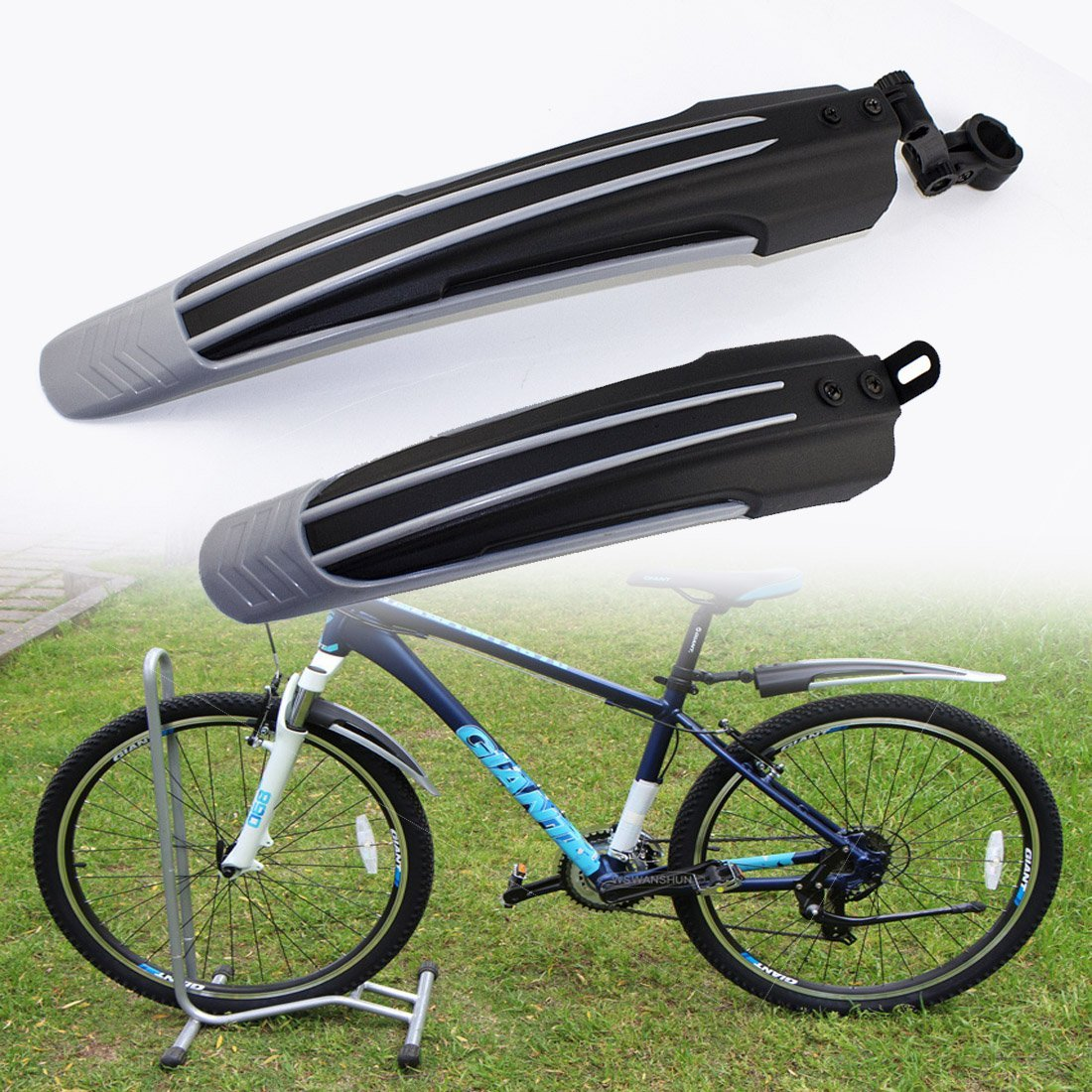 Ajustable Road Mountain Bike Bicycle Cyling Tire Front/Rear Mud Guards Mudguard Fender Set (Gray)