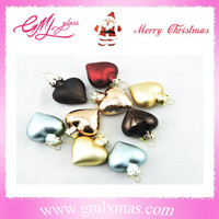 new fashionable christmas mini ornaments heart shaped glass ornaments,mini heart chain ornaments for decoration