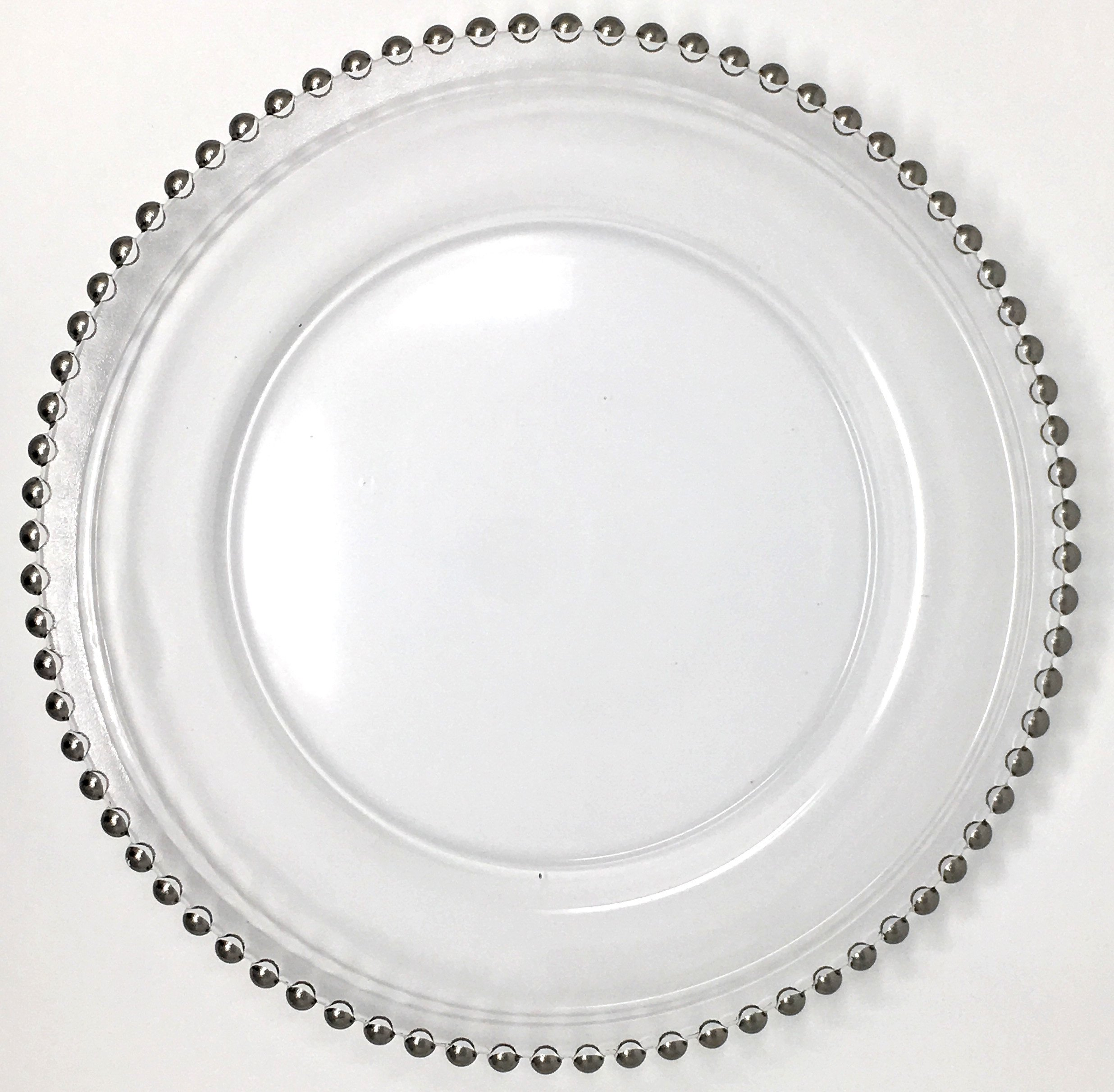 nice Cheap Glass Plates In Bulk Part - 3: Get Quotations · Beautiful Glass Dinnerware Formal 13-Inch Silver Beaded  Rim Clear Glass Charger Plate Wedding Party